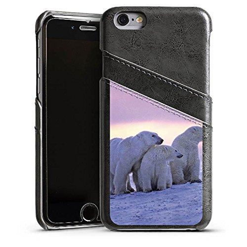 Apple iPhone 5s Housse étui coque protection Ours polaire Ours polaires Ours Étui en cuir gris