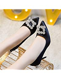 Im Frühjahr und Herbst weiblich Single Schuhe mit dicken und quadratischen Kopf hochhackigen Schuhe, Schwarz, 37