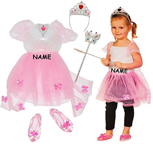 alles-meine.de GmbH 4 TLG. Kostüm  Prinzessin / Ballerina  - 2 bis 4 Jahre - Gr. 98 - 110 - incl. Name - Kleid rosa / pink, Schuhe & Krone / Schmuck - für Kinder Kind Kinderkos..
