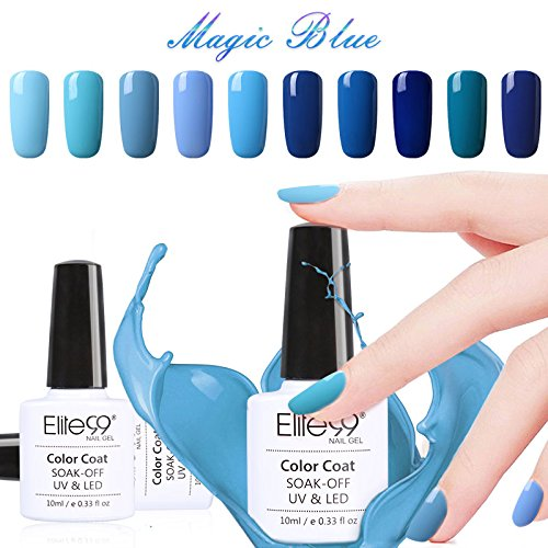 Vernis Semi permanent Elite99 Vernis à Ongles Gel UV LED Bleu Soakoff 12pcs Kit Manicure Pour Ongle