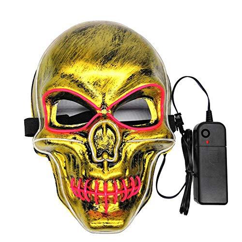 smileyshy Halloween leuchtende Maske, Halloween Schädelform LED leuchtende Maske männlich weiblich Persönlichkeit Karneval Party Cosplay Ball Party Maske Street Dance Maske