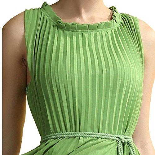 Robe vert longue avec ceinture mousseline Vert