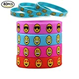 40pcs Cute Emoji Cartoon Smiley Face Silicone Kids bracelet for Children Kids Bangles Jewelry Silicone Bracelet Party Supplies