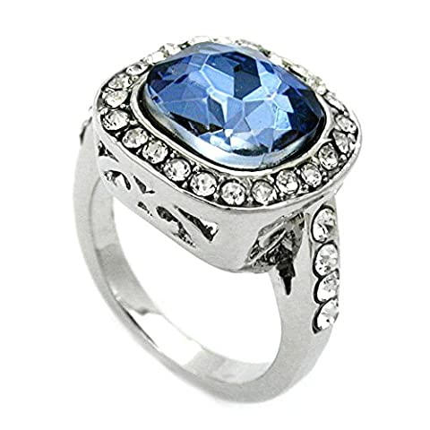 Ring, Large Blue/ Transparent, Glass Crystals