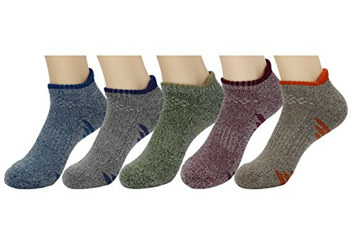 Waymoda 5 Pairs Low Cut Ankle Crew Socks, Outdoor Running Hiking Dancing Trainer Sports Sneaker Sox, 5 Color/Set, Quick Drying Polyester, Unisex Young Men/Women/Boys/Girls UK 2-4/EUR 34-36 (Ferse Schwein)