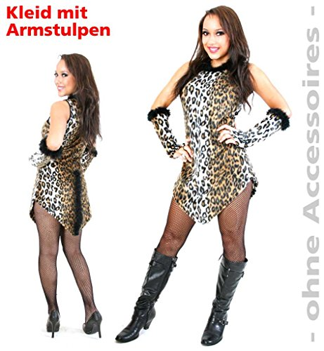 Damen-Kostüm Leopard Kleid mit Armstulpen Leoparden-Muster Wildkatze Cat Leo Plüsch-Stoff kurz sexy (Muster Kostüm Catwoman)