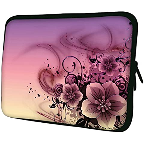 Luxburg–nuevo diseño funda blanda de neopreno bolsa para 30,48cm portátil/portátil/Tablet–rosa flores arte