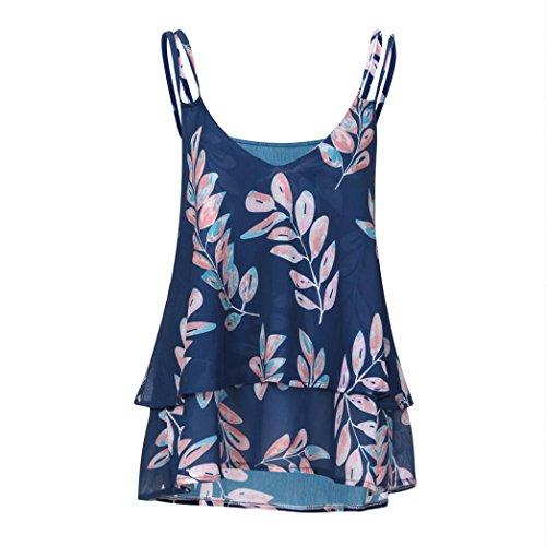 MRULIC Damen T-Shirt Armelloses Top Frauen Verstellbare Schultergurte Runden Hals Leibchen Crop Top(X-Blau,EU-40/CN-L)