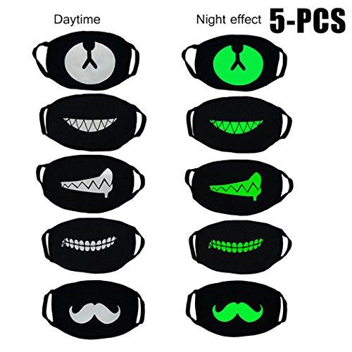Zoylink 5 STÜCKE Leuchtmasken Mundmasken Unisex Anti Staub Glow In The Dark Baumwolle Gesichtsmasken FüR Halloween Party