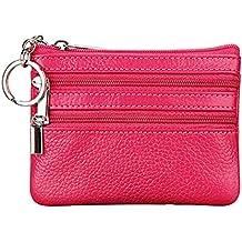 3de609c7f Feoya - Carteras de Tarjetas Cremallera Moneda Monedero Mini Delgado  Billetera Roja para Mujer Hombre -