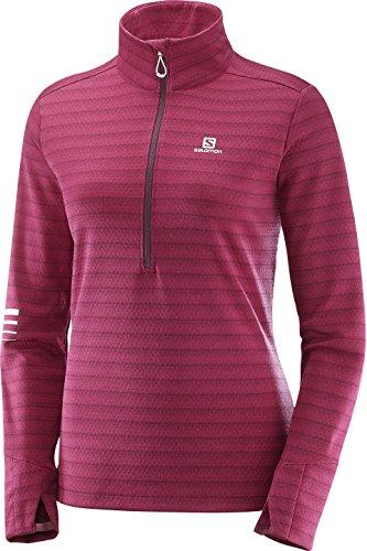 Salomon Damen Langarm-Laufshirt Lightning HZ, Synthetik-Mischgewebe, Fuchsia (Beet Red/Fig), Größe: M (Bar Long Sleeve T-shirt)