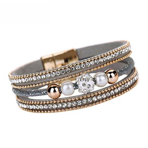 Armband Damen Armbänder DAY.LIN Frauen Multilayer Armreif Armband Kristall Perlen Leder Magnetic Armband (Grau) (Bustier Leder Schnalle)