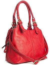 BHBS Mehrere Taschen mittleren Damen Tasche mit einem langen Riemen 33x264x13 cm (BxHxT) (33622 Red)