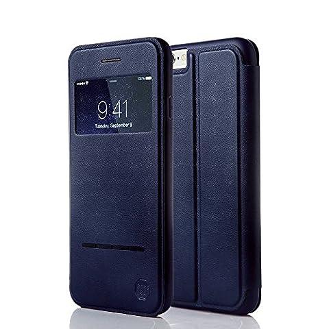 Nouske Étui en cuir pour Apple iPhone 6 Plus / iPhone 6S Plus, à rabat Folio S View avec fenêtre Cover Coque TPU, avec Support Protection intégrale, Bleu Marin