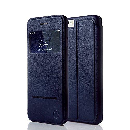 Nouske iPhone 6 Plus / 6S Plus 5.5 Zoll hülle Etui Smart Touch S View Window Leder Wallet Klapphülle Flip Book Case TPU Cover Bumper Ultra Slim, Marineblau