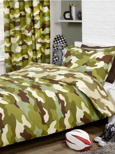 Parue de lit Camouflage militaire - Taille enfant/ado 1 housse de couette (135x200cm) et 1 taie d'oreiller (50x75cm)