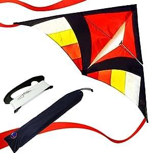EMMAKITES Super einfach zu fliegen Kite - Rot Miss Sora Rainbow Delta Kite 1.5 Meter Cute Joyful - RTF Kit mit Doppel Kite Tails & 100M Kite String - Nizza Handwerk Ideal für Anfänger Kinder