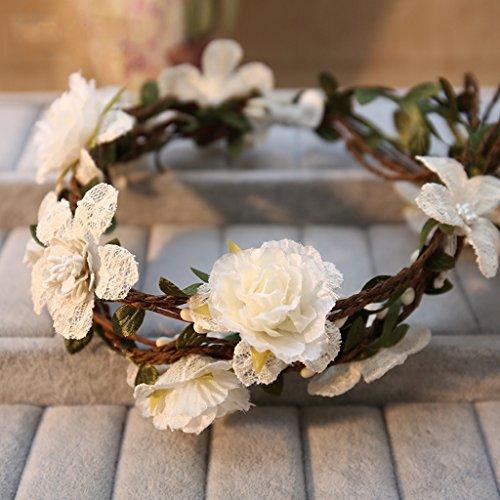 &Coiffe de corolle Couronne de fleurs Couronne de mariée Couronne de fleurs Mariage vacances Demoiselle d'honneur Accessoires Style de forêt Frais et naturel ( Couleur : B )