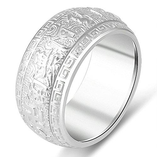 Aooaz Gioielli anelli da uomo anello argento 925 Cerchia lettera incisa anelli vintage Argento