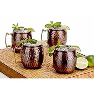 Antique Copper Hammered Hard Moscow Mule Mug Set Of 4 by AVS STORE ®