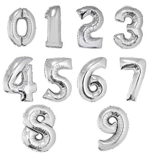 (Großer Zahlenballon Zahl 5 XXL 100cm in Farbe Silber)