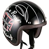 3/4 Casque Moto Jet Vintage Classic Scooter Touring CafeRacer (M~L, Kuckle)
