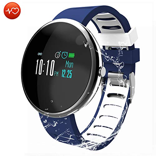 CatShin Fitness Tracker Smartwatch-Fitnessuhr CS06 Fitness Armband IP67 Wasserdicht Armband Sport Activity Tracker für Herren Schrittzähler Blutdruck Pulsmesser Kalorienzähler-Android/IOS (Blau)
