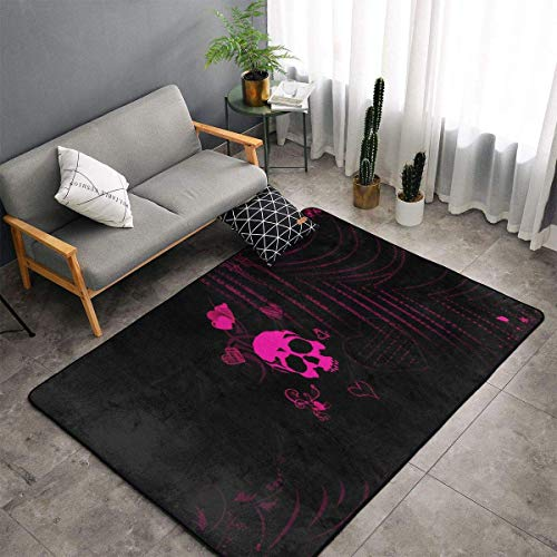 Area Rug Fußmatte Fußmatte Kinderzimmerteppich Kinderteppich Badteppich Badteppich Schädel Schwarz Überwurf Läufer Gymnastikmatte Indoor/Outdoor Eingangsmatte, Skull and Roses, 100 x 150 cm