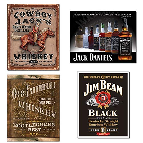 Bundle: Tin Whiskey Schilder - Cowboy Jacks, Jack Daniels Bottles, Old Faithfull Whiskey & Jim Beam Black Label (Bottle Labels Whiskey)