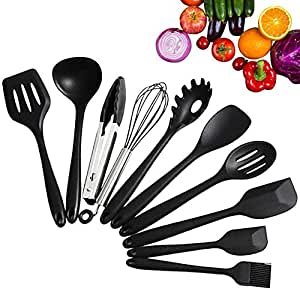10 Piece Silicone Kitchen Utensils - Heat Resistant Non-stick Cooking Utensils Set for Cooking Baking Camping