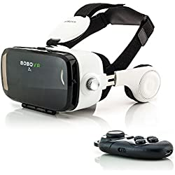 Zanasta VR Gafas 3D VR Realidad Virtual con Auriculares + Bluetooth Controlador Universal Visor Virtual Reality Video Juegos simulación Gaming Headset ajustable para Apple iPhone, Samsung Galaxy, Sony Xperia y muchos más