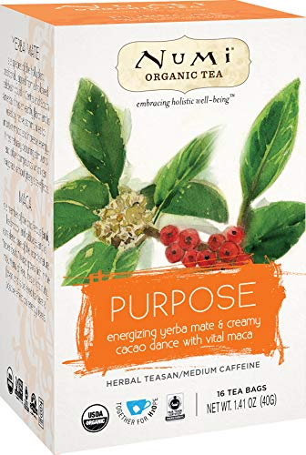 """Tisana Olistica NUMI Biologica & Fairtrade\""""PURPOSE\"""" con cacao, yerba mate e rooibos. Confezione da 16 filtri."""