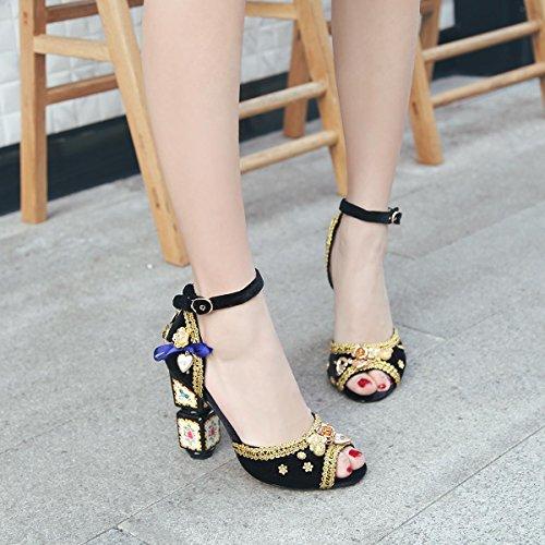 Femmes Peep Toe Pompes à cheville Chaussures fait à la main Chaussures de fête brodée Boucle Sandales romaines Chaussures de mariage Grandes tailles Chaussures 34-43 Black
