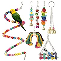 Relax love 7 Pcs Bird Swing Toys Parrot Cage Swing Toys Bells Natural Colorful Wood Hammock Hanging Perch Spiral Ladders for Medium Birds Parakeets Cockatiels Macaws Parrots Lovebirds Finches