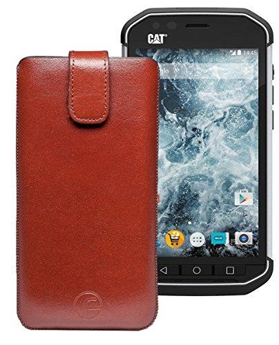 Favory Tasche Leder Etui für DOOGEE S60 | DOOGEE S60 lite | ECHT Ledertasche Hülle Schutzhülle (Lasche mit Rückzugfunktion) braun