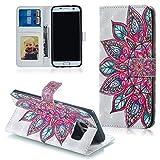 FNBK Handyhülle für Galaxy S7 Edge Hülle,3D Ledertasche Premium Flip Case Wallet Schutzhülle Kompatibel für Samsung Galaxy S7 Edge Tasche Bookstyle Ständer Kartenfächer Magnetic Lederhülle,Rose Blume