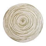Tappeto Rotondo in Iuta Stile Country Foyer Pad Salotto tavolino Tappeto Camera da Letto Coperta Tessuto a Mano per Il Tempo Libero Cuscino Balcone Tappetino, Ancia, Verde, 120 * 120CM