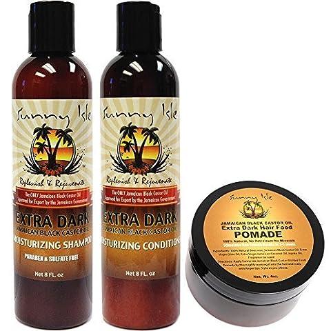 Sunny Isle Extra Dark Jamaican Black Castor Oil Moisturizing Shampoo, Conditioner 8oz & Extra Dark Hair Food Pomade 4oz Set by Sunny Isle