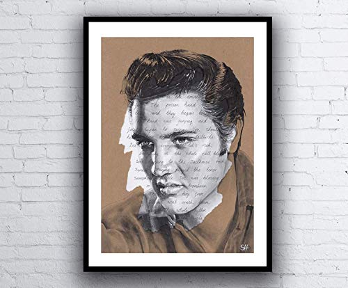 Elvis Presley Portrait Drawing - signed Giclée art print with Jailhouse Rock lyrics A5 A4 A3 size -
