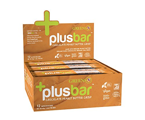 Greens + Vegan Peanut Butter & Dark Chocolate Crisp-Box Greens+ (Orange Peel Enterprises) 12 Bars 1 Box by Greens Plus -