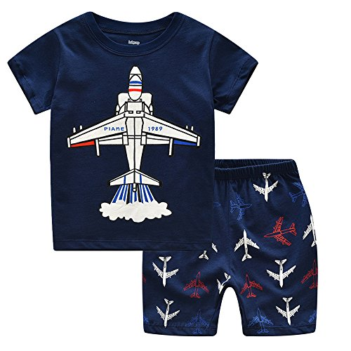Gorgeya Toddler Kids Pyjamas Sets Short Pajamas for Boys Nightwear Plane Summer Clothes Outfit 2 3 4 5 6 7 Years