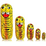 Fine Craft India Set Of 5 Piece Hand Paints Matryoshka Traditional Russian Nesting Stacking Wooden Tiger Yellow Nested Dolls Christmas