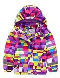 Kinder Mädchen Matsch und Buddeljacke Fleece Wasserdicht Winddicht Regenjacke mit Kapuze, Farbe Mehrfarbig Purple, Size 98