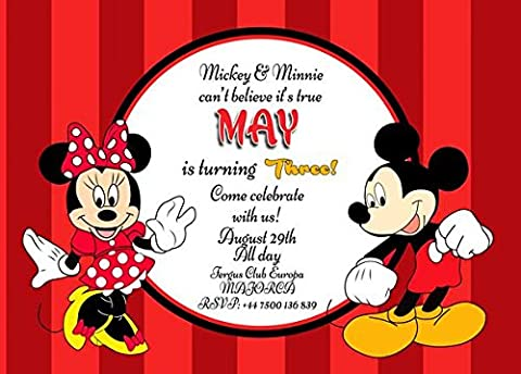 MICKEY MOUSE MINNIE MOUSE PERSONALISED BIRTHDAY PARTY INVITATION x 10 WITH ENVELOPES (7x5 (10 Prints))
