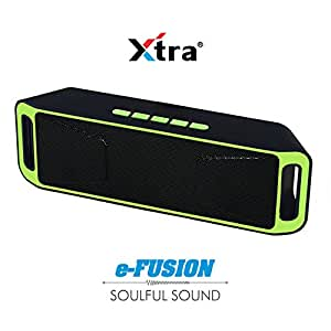XTRA e-Fusion Wireless 4.1 Bluetooth Speaker Portable Stereo FM Radio, High-Def Crystal Sound, Upto 128GB Micro SD Card Support + USB Playback with Triple Bass + Built-in Mic & 3.5mm Jack - Green