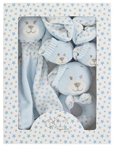 Baby Geschenkset Hase blau in Box Schnuffeltuch Rassel Babyschuhe