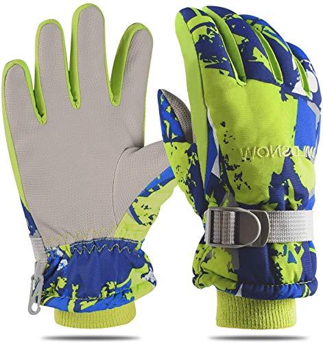 Cevapro Skihandschuhe Wasserdichte Touchscreen Handschuhe Warme Winterhandschuhe für Herren Frauen Kindern zum Wintersport Outdoor wie Skifahren,Motorradfahren Fahrradfahren u.s.w(Grün, S für Kindern)