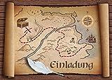 12-er-Set 'ALTE SCHATZKARTE': Einladungskarten zum Piraten-Kindergeburtstag oder zur Schatzsuche / Geocaching