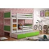 JUSThome LEON Cama juvenil infantil Litera con cajones con cama adicional (LxBxH): 190x85x150 cm Blanco Verde