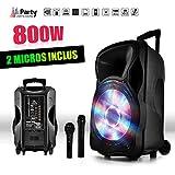 """Enceinte sono mobile amplifiée 800W 15"""" LED/USB/BT/SD/FM + Micros sans-fil/filaire PARTY15"""